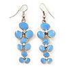 Delicate Triple Flower Light Blue Enamel Drop Earrings (Silver Plated Metal) - 5.5cm Length