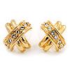 Gold Tone Clear Crystal 'Cross' Metal Stud Earrings - 15mm Diameter