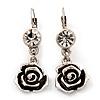 Burn Silver Rose Drop Earrings - 4.5cm Length