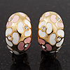 C-Shape Pink/White Floral Enamel Crystal Clip On Earrings In Gold Plated Metal - 2cm Length