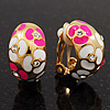 C-Shape Deep Pink/White Floral Enamel Crystal Clip On Earrings In Gold Plated Metal - 2cm Length