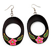 Dark Brown Wood Oval Hoop With Pink Flower Earrings (Silver Tone Metal) - 8cm Drop
