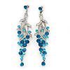 Long Swarovski Turquoise Crystal Chandelier Earrings ( Silver Plated Metal) - 11.5cm Drop
