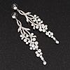 Long Swarovski Clear Crystal Chandelier Earrings ( Silver Plated Metal) - 11.5cm Drop