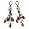 Bronze Tone Diamante Skull Dangle Earrings - 8.5cm Drop