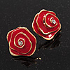 Red Enamel Dimensional Rose Stud Earrings In Gold Metal - 2cm in diameter
