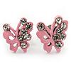 Tiny Light Pink Crystal Enamel 'Butterfly' Stud Earrings In Silver Tone Metal - 10mm Diameter
