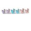 Tiny Light Blue/ Pink/ Lavender Crystal Enamel 'Butterfly' Stud Earring Set In Silver Tone Metal - 10mm D