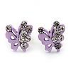 Tiny Lavender Crystal Enamel 'Butterfly' Stud Earrings In Silver Tone Metal - 10mm Diameter
