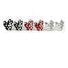 Tiny Black/ White/ Red Crystal Enamel 'Butterfly' Stud Earring Set In Silver Tone Metal - 10mm Diameter