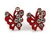 Tiny Red Crystal Enamel 'Butterfly' Stud Earrings In Silver Tone Metal - 10mm Diameter