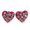 Tiny Deep Pink Crystal Enamel 'Heart' Stud Earrings In Silver Plated Metal - 10mm Diameter