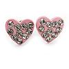 Tiny Light Pink Crystal Enamel 'Heart' Stud Earrings In Silver Plated Metal - 10mm Diameter