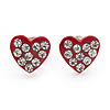 Tiny Red Crystal Enamel 'Heart' Stud Earrings In Silver Plated Metal - 10mm Diameter