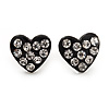 Tiny Black Crystal Enamel 'Heart' Stud Earrings In Silver Plated Metal - 10mm Diameter
