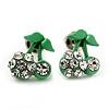 Tiny Green Enamel Diamante Sweet 'Cherry' Stud Earrings In Silver Tone Metal - 10mm Diameter