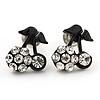 Tiny Black Enamel Diamante Sweet 'Cherry' Stud Earrings In Silver Tone Metal - 10mm Diameter