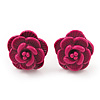 Tiny Deep Pink 'Rose' Stud Earrings In Silver Tone Metal - 10mm Diameter