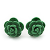 Tiny Green 'Rose' Stud Earrings In Silver Tone Metal - 10mm Diameter