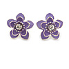 Purple Enamel Daisy Floral Stud Earrings In Rhodium Plated Metal - 2cm Diameter
