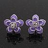 Purple Enamel Daisy Floral Stud Earrings In Rhodium Plated Metal - 2cm Diameter