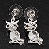 Small Clear Crystal Cute 'Owl' Stud Drop Earrings In Rhodium Plated Metal - 3cm Length