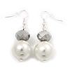 White Bead Drop Earrings In Silver Plated Metal - 4.5cm Length