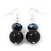 Black Bead Drop Earrings In Silver Plated Metal - 4.5cm Length