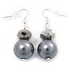 Grey Bead Drop Earrings In Silver Plated Metal - 4.5cm Length