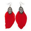 Vintage Diamante Red Feather Drop Earrings In Burn Silver Metal - 13cm Length