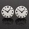 Funky Black/White Acrylic 'Clock' Stud Earrings - 17mm Diameter