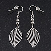 Delicate Filigree 'Leaf' Drop Earrings In Silver Plating - 5cm Length