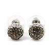 Ash Grey/Clear Swarovski Crystal Ball Stud Earrings In Silver Plated Finish -10mm Diameter