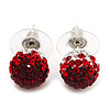 Ruby Red/ Bright Red/ Clear Coloured Swarovski Crystal Ball Stud Earrings In Silver Plated Finish -10mm Diameter