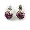 Deep Purple/Lavender/Clear Crystal Ball Stud Earrings In Silver Plated Finish -10mm Diameter