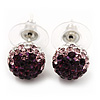 Deep Purple/Lavender/Clear Swarovski Crystal Ball Stud Earrings In Silver Plated Finish -10mm Diameter