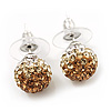 Light Citrine/Champagne/Clear Swarovski Crystal Ball Stud Earrings In Silver Plated Finish -10mm Diameter