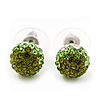 Olive/Grass Green/Clear Swarovski Crystal Ball Stud Earrings In Silver Plated Finish -10mm Diameter