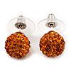 Orange Swarovski Crystal Ball Stud Earrings In Silver Plated Finish - 9mm Diameter
