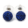 Montana Blue Crystal Ball Stud Earrings In Silver Plated Finish - 9mm Diameter