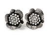 Clear Crystal Textured Flower Stud Earrings In Burn Silver Finish - 2cm Diameter
