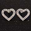 Clear Crystal Open 'Heart' Stud Earrings In Silver Metal - 2cm Length