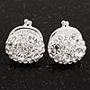 Clear Crystal 'Purse' Stud Earrings In Silver Tone Metal - 15mm Diameter