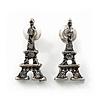 Small Diamante 'Eiffel Tower' Stud Earrings In Burn Silver Finish - 1.7cm Length