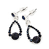 Dark Blue Crystal Teardrop Silver Tone Earrings - 3cm Length