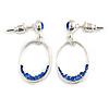 Royal Blue Crystal Oval Silver Tone Earrings - 3cm Length
