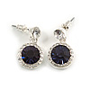 Round Cobal Blue /Clear Crystal Stud Earring In Silver Metal - 2.5cm Drop