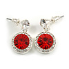 Round Red/ Clear Crystal Stud Earring In Silver Metal - 2.5cm Drop