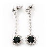 Clear/Emerald Green Crystal Drop Earrings In Silver Finish - 4.5cm Length