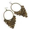 Oversized Coin Hoop Earrings In Bronze Finish - 13cm Length